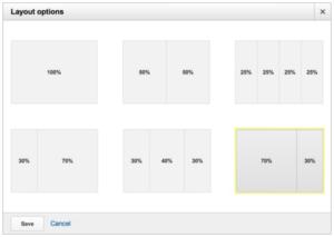 Opções de layout para dashboards do Analytics